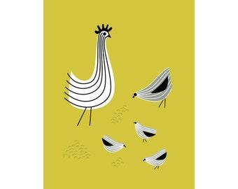 Chicken Decor, Kitchen Wall Art, Rooster Art, Chicken Art, 11x14