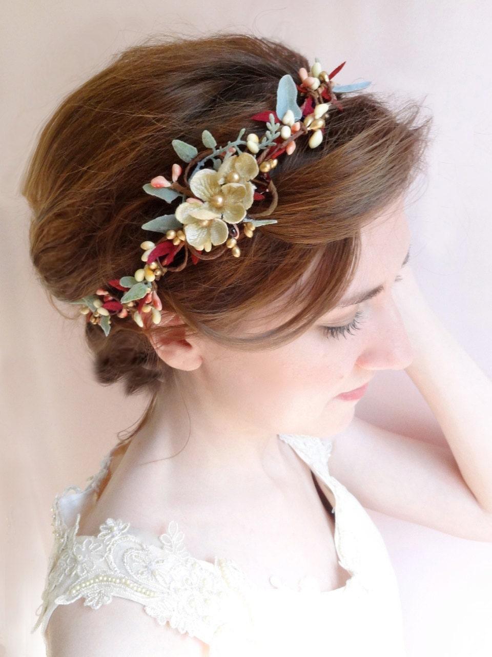 Burgundy Headband Burgundy And Gold Bridal Hair Piece