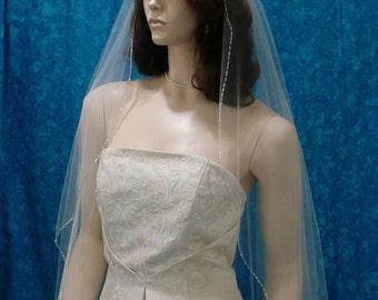 Crystal and Bugle Beaded Edge 1 Tier Fingertip length Wedding Veil