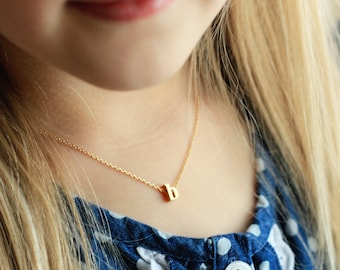 Children's Initial Necklace - Lowercase Gold Silver Rose Gold Letter Charm Childrens Flower Girl Necklace Personalized Flower Girl Gift
