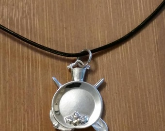 Mining In Alaska Sterling Silver Necklace Pendant with Gold Nugget Charm