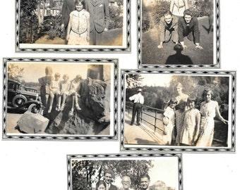 5 vintage Photo Lot Little Girls Family Man Woman Piggy Back Old Car 1930 snapshots
