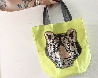 Canvas Tote Bag with Tiger Applique, Reusable Shopping Bag