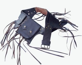 Leather Utility Belt | Brown Tassels, 5 pockets | travel, festival, cosplay