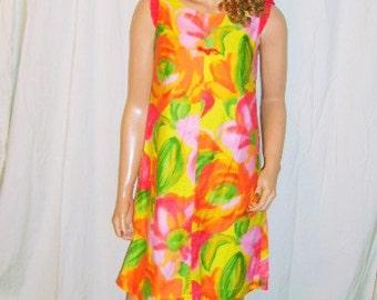 Vintage Kiesel's Fashions by Betty Fluorescent Hawaiian Dress L
