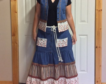 Denim Two Piece Set, Vest, Tiered Ruffled Skirt with Pockets, Button Up, Recycled, Vintage Trim, Autumn Colors, Womens Size Medium Large
