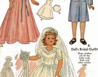 1089 Doll Clothes PATTERN for 15 in Little Lady or Anne Shirley dolls by Effanbee Bridal Gown Veil Suit Nightgown 1940s Quality PHOTOCOPIES