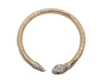 Snake Necklace, Vintage Rhinestone, Gold Mesh, Egyptian, Bohemian Gypsy, Bohemian, Boho Statement, Evening, Gothic, Fantasy, Exotic