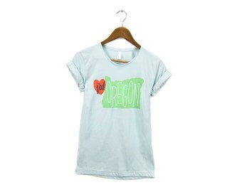 SAMPLE SALE - J'Adoregon Tee - Boyfriend Fit Scoop Neck Tshirt with Rolled Cuffs in Mint Green & Red Heart - Women's Size S-XL Q