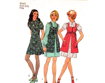 1970s Vintage Babydoll Dress & Smock Pattern Simplicity 9800 Puff Sleeve Dog Ear Collar