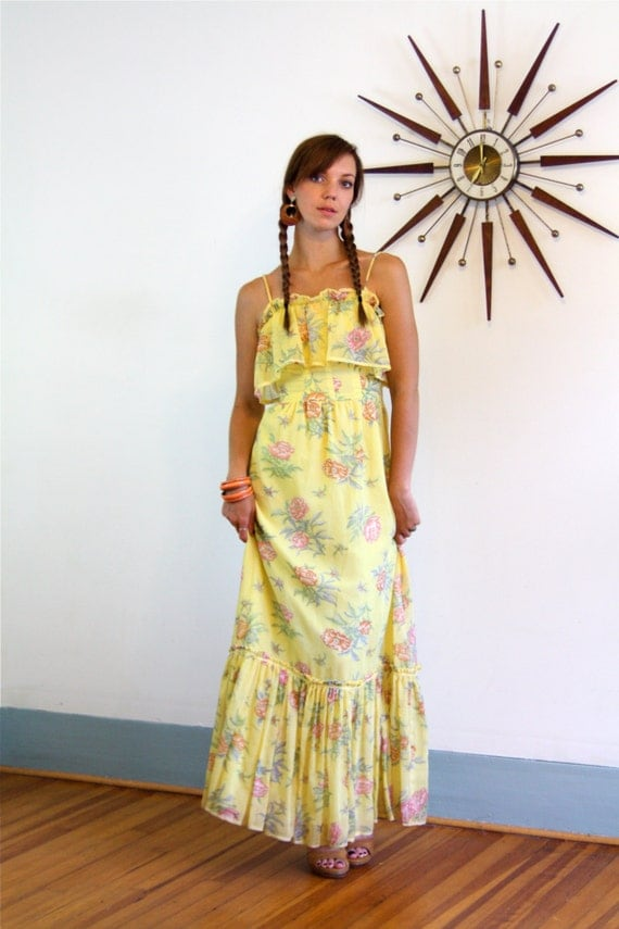 Vintage 1970s Ruffle Maxi Dress Yellow Floral Cotton Gypsy Boho Chic Spaghetti Strap Hippie Festival 70s Romantic Long Tiered Prairie Dress