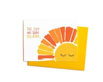 Sympathy Cards, The Sun Will Shine Again Thinking of You Get Well Card Set: Orange and Yellow Summer Sunshine
