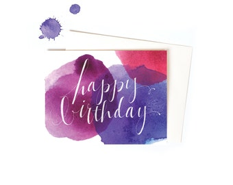 Watercolor Birthday Card, Pretty Happy Birthday Card with Watercolor and Hand TypographyGreeting Card