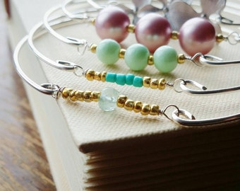 Gold Beaded Aqua BlueQuartz Gemstone Bangle . Silver Stacking Bangle Bracelet . Light Blue Gem Stackable Silver Mixed Metal Bangle Jewelry