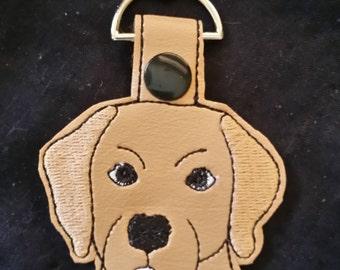 Dog Lab Key Chain, Key Fob, Snap Tab