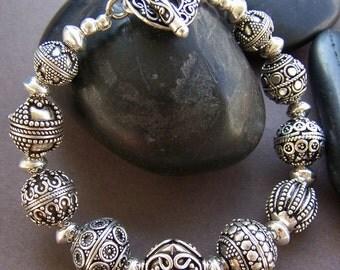Nadia Bali Silver Bracelet - Sterling Silver Bali Beaded Bracelet