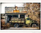 The Green Truck Grocery Market - Country Store Photograph - Old Truck Photo - Vintage Coca Cola Sign Art - Abandoned Building Photography