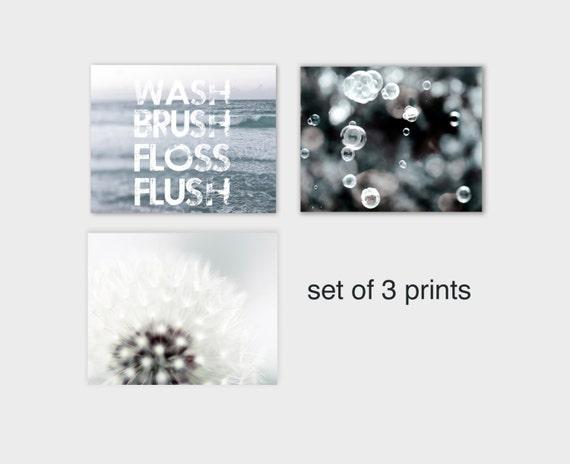 SALE, Bathroom Wall Art, Pastel Blue, White, Powder Room Art, Set 3 Prints, Kid's Bathroom Prints, Wash Brush Floss Flush
