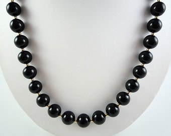 Black Onyx Necklace Onyx Gemstone Necklace Black Onyx Beaded Necklace Black Gold Necklace Onyx Gold Filled Necklace Black Onyx Strand