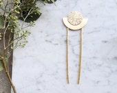 Moon Goddess Hair Stick | Brass Hairpin | Bohemian Fashion Accessory