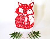 Plush Fox Pillow. Woodblock Printed. Choose Any Color. Made to Order.