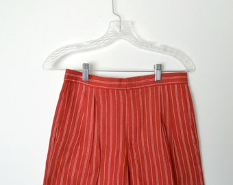 Vintage 90s Pinstriped Red Shorts Front hook and zip closure Two side pockets Distinct waistband / Size Small
