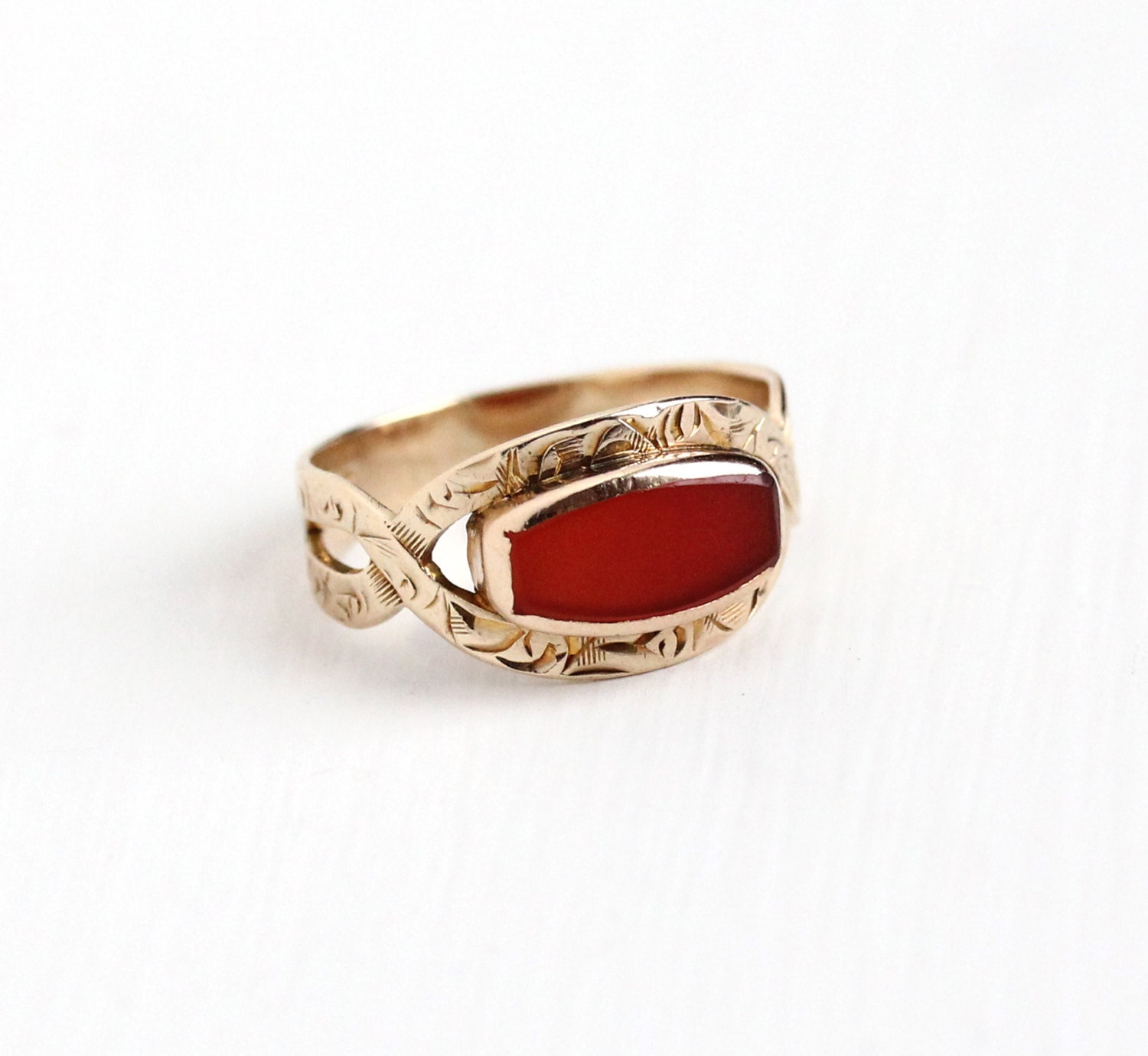 antique 10k yellow gold carnelian ring vintage by