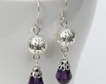 Purple Filigree Dangle Earrings