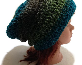 Fuzzy Winter Hat, Peacock Green Hat, Blue Slouchy Hat, Peacock Blue Hat, Unisex Winter Hat, Minimalist Hat, Hipster Beanie, Slouchy Beanie
