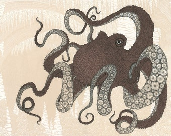 Octopus Screenprint 22x30