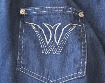 Vintage Mens 70s Disco Blue Jeans/Denim Pants/Contrast White Stitching/36 x 29 Polyester/Nylon/Theater Costume/Zipper Elastic Waistband