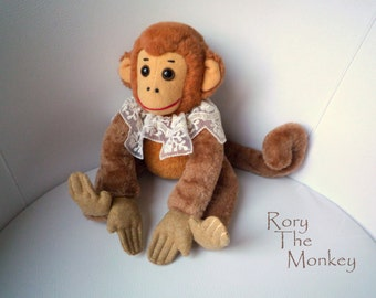 Rory the Monkey  , soft art  toy creature by  Wassupbrothers. victorian retro, teddy monkey, soft friend .Ready to ship.