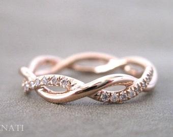 Rose Gold Wedding Ring, Diamond Infinity Wedding Ring, Infinity Diamond Wedding Ring, Braided Rope Diamond Ring, Diamond Rose Gold Ring