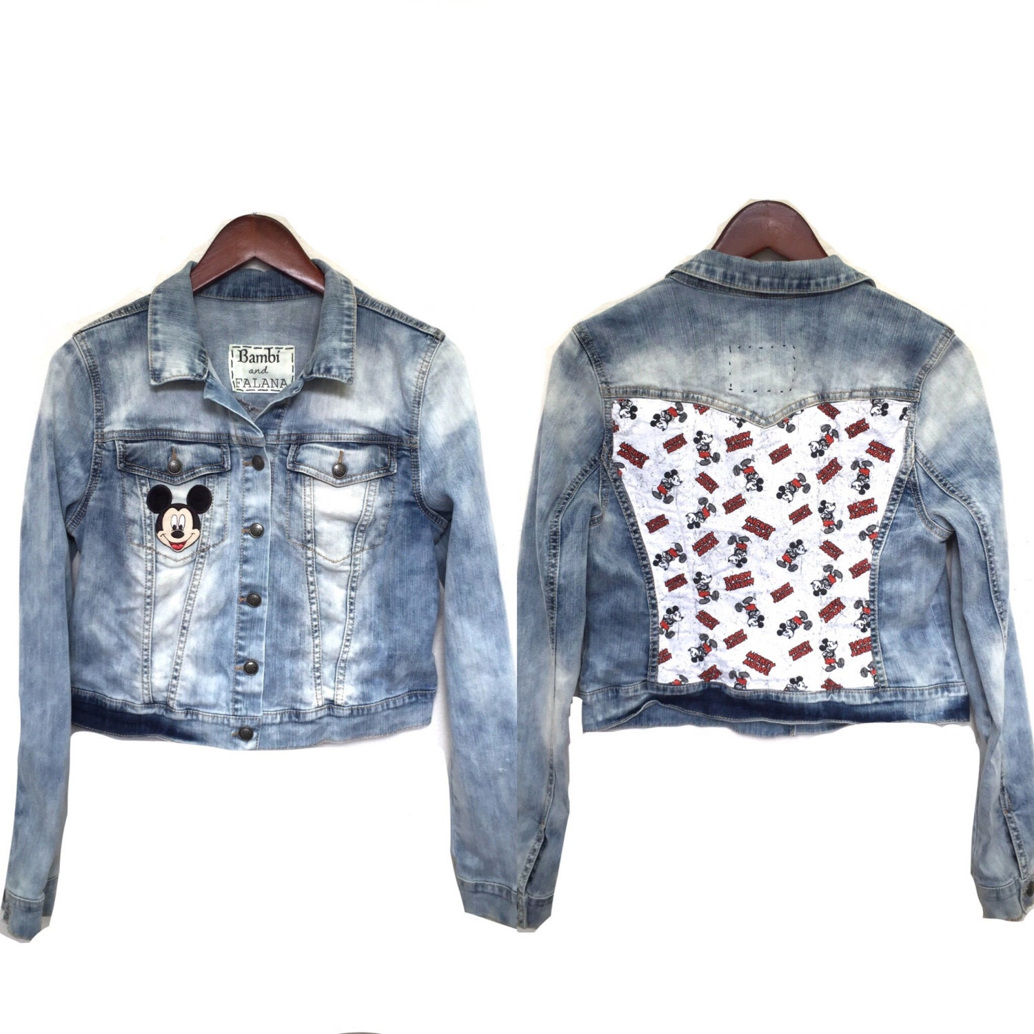Mickey Mouse Jacket Denim Disney World Print Jean Outerwear