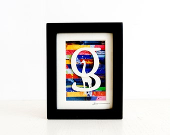 G is for Giraffe, mini cut paper collage with frame