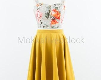 Custom made skirt, circle skirt, vintage inspired skirt, blue skirt, yellow skirt, mustard yellow skirt