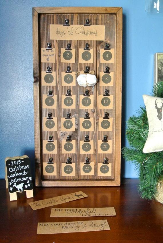 Wooden Christmas Advent Calendar, Christmas Countdown, Wood Advent Calendar, Personalized Christmas Activity Advent Calendar, Rustic Decor