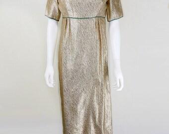 Original 1960's Vintage Simon Ellis Long Gold Shimmer Dress UK Size 10