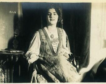 "Vintage Real Photo Postcard ""The Storyteller"" Girl Women Dress Old Antique RPPC Photo Black & White Photograph Found Paper Ephemera - 45"