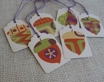 Fall Acorn Gift Tags, Handmade Tags, Set of SIX, Gift Tags, Autumn Gift Tags, Gift Embellishment SnowNoseCrafts