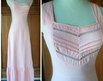 Vintage Maxi Dress Hippie Corduroy Pink Corky Craig California Tiny Cord Jumper Ruffle Hem Cutout XS 32 bust