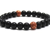 Black obsidians Men Beaded Bracelet, Coconut Wood Beads men Mala Beads Worry Beads Chakra Bracelet Protection, Mens Jewelry Buddhist Beads