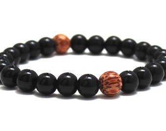 Black obsidian Men Beaded Bracelet Mala Worry Beads, Graduation Gift for Him Yoga Boyfriend Husband, Men Palm Wood Bracelet Healing Crystals