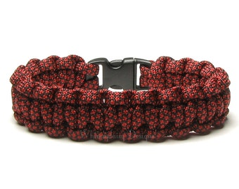 Paracord Bracelet Imperial Red Diamond Black Military Survival Accessory Army Veteran Outdoor Unisex Cuff Gift Men Women Hiking Camping Cord