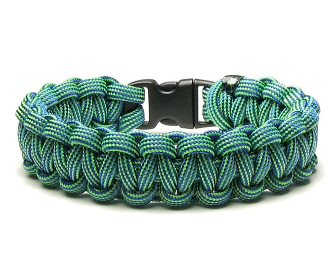 Paracord Bracelet Electro Shock Blue Green Stripe Survival Accessory Winter Outdoor Sport Unisex Christmas Gift For Men Women Hiker Camping