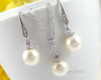 Pearl Jewelry Set - Wedding Swarovski Pearl Drop Necklace and Earrings Set - Bridesmaids Gift Set: White, Cream, Pink, Light Grey, Black