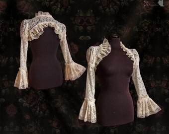bridal shrug ivory lace, Victorian bolero, , cottage chic, Devia, Somnia Romantica, size small - medium see item details for measurements