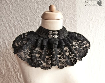Collar black lace, Victorian, Steampunk, romantic goth, Maeror, Somnia Romantica, size large - extra large see item details for measurements