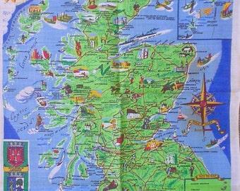 Unused Scottish Tea Towel Map of Scotland Irish LInen New with Tag