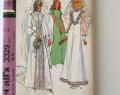 1970s Wedding Dress Pattern McCalls 3379 Womens High Waist Bishop Sleeve Bridal Gown Detachable Train Bridesmaid Dress Size 14 Bust 36 UNCUT